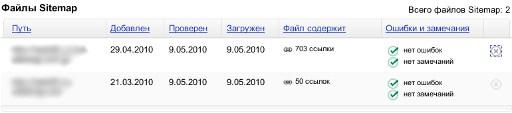 Обработка Яндексом файла sitemap.xml