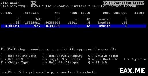 Установка FreeBSD - создаем раздел на диске