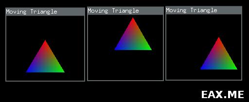 Радужный треугольник, который можно двигать