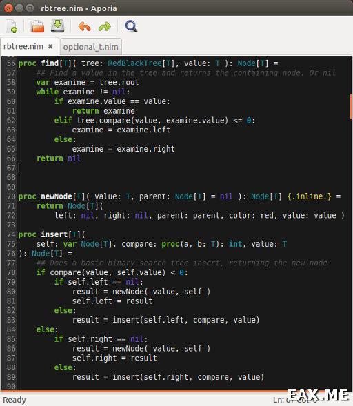 Aporia, текстовый редактора для Nim