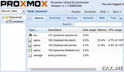 Веб-интерфейс Proxmox VE
