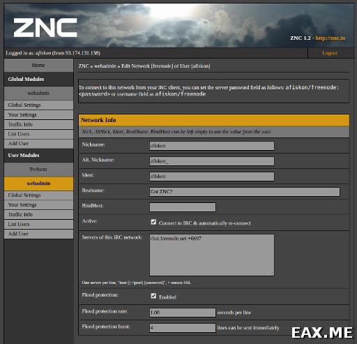Веб-админка ZNC