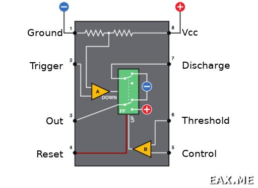 Иллюстрация внутреннего устройства счетчика 555