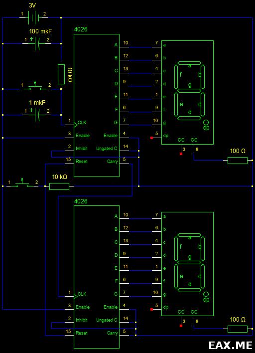 Схема цепи с двумя цифрами и двумя счетчиками 4026