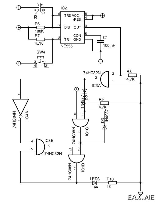 Включение светодиода с задержкой с помощью логических вентелей