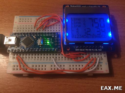 Использование ЖК-экранчика от Nokia 5110 в Arduino