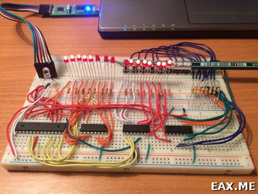 Пример использования сдвиговых регистров и демультиплексоров