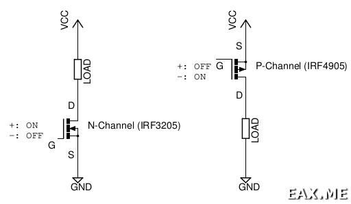 Схема типичного использования полевых МОП-транзисторов