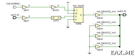 Схема цепи, полученная после этапа синтеза