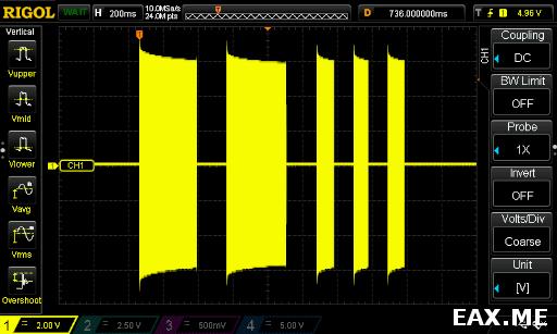 Осциллограмма сигнала самодельного CW-передатчика